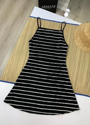 Чёрное платье сарафан белая полоска
