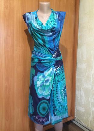 Яркое трикотажное платье миди!!