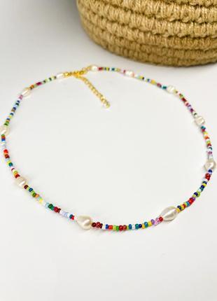 Ожерелье из бисера и речного жемчуга/ намисто