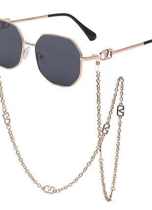 Трендовые солнцезащитные шестигранные очки с цепочкой в стиле valentino 2021 года