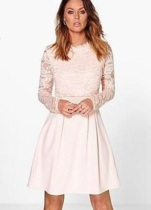 Нарядное платье с гипюровым верхом