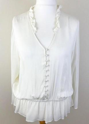 Белоснежная вискозная блузка британского бренда m&s, сезон весна-лето, р. m-l