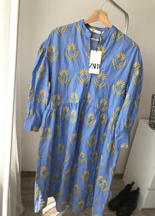 Zara платье лимитированная коллекция с вышивкой