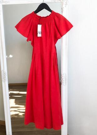 Льняное платье zara трикотажное платье