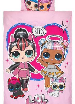 Детское постельное белье lol pets куклы лол с питомцами для девочки - ткань с блестками