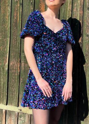 Платье в паетки zara