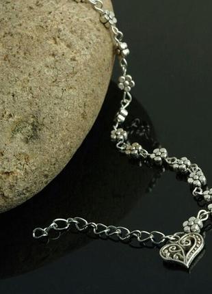 Симпатичный браслет на ногу украшение с кулоном , кулон сердце .