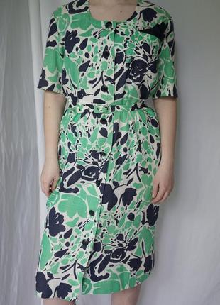 Интересное винтажное платье - халат , натуральная ткань, интересный принт. винтаж.