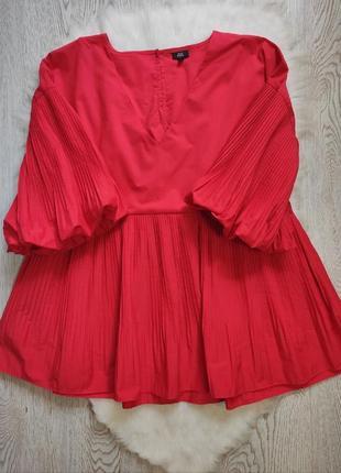 Красная блуза плиссе баской пышными рукавами воланами вырезом оверсайз фонарик батал большого