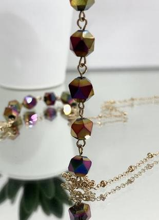 Цепочка держатель для очков золотистая с камнями ланцюжок для окулярів5 фото