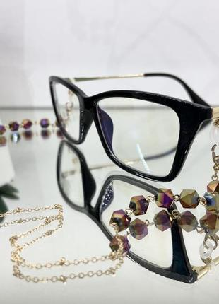 Цепочка держатель для очков золотистая с камнями ланцюжок для окулярів10 фото