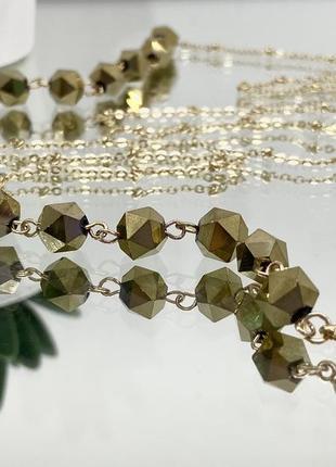 Женская цепочка для очков золотистая с камнями ланцюжок для окулярів