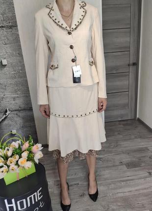 Костюм женский бежевый, юбка и пиджак! (0644)