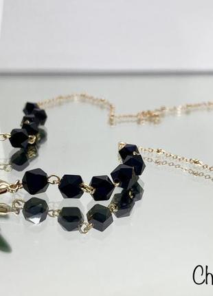 Цепочка для очков держатель золотистая с чёрными камнями ланцюжок для окулярів