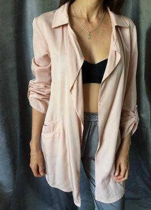 Розовый пиджак  кардиган летний  натуральный
