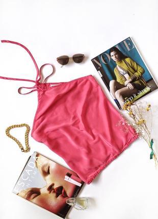 Топ розовый коралловый майка с завязками на шее шелк винтаж