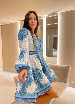 Платье белое голубое туника на пуговицах белая голубая