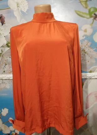 Шелковая коралловая блуза застежка сзади s-m