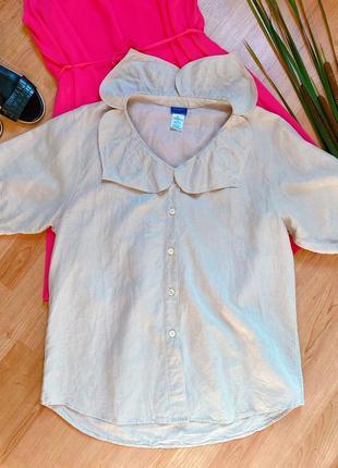 Льняная блуза с отложным воротником