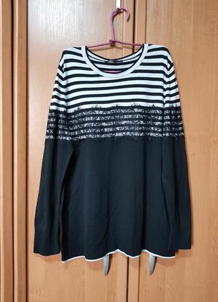 Стильная большая черно-белая кофточка, свитшот, кофта, свитер с кружевом