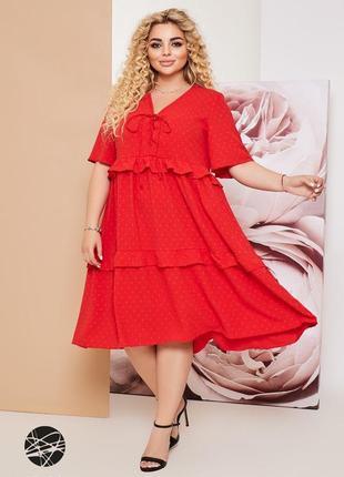 Льняное ярусное платье со шнуровкой 4 цвета