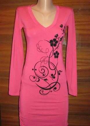 Женская туника-платье (турция) х\б со стрейчем. цвет малиновый. размер 44-48.