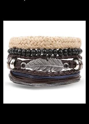Набор браслетов унисекс браслет с пером бохо этно