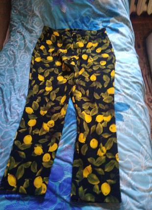 Штаны, брюки с лимоном, лимонный принт