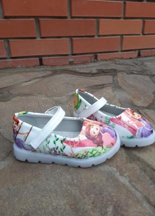 Туфельки с эльзой с led подсветкой, туфли с мигалками для девочки
