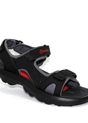Чоловічі чорні сандалі на липучках