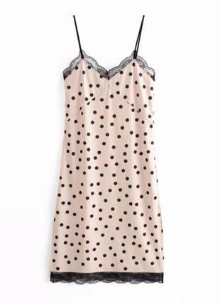 Zara платье сарафан на брительках в бельевом стиле с кружевом в горох