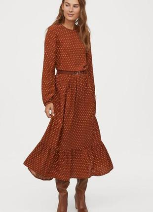 Милое платье-миди в горошек с воланом от h&m как asos zara в состоянии нового