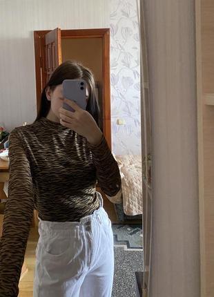 Кофта сетка водолазка тигровая mohito