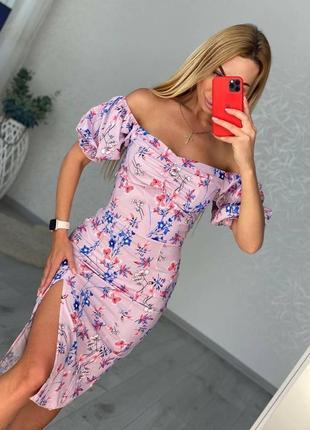 Женское платье, короткое платье, платье в цветочек