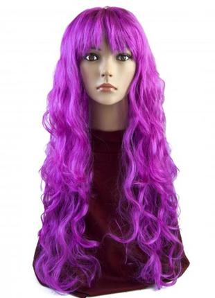 Парик  сиреневый маскарадный волнистые очень длинные волосы + подарок