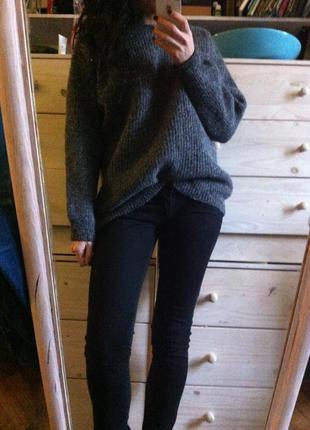 Шерстяной тёплый обьёмный оверсайз свитер меланж 10-12-14 woolmark 100% шерсть