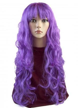 Парик фиолетовый очень длинные волнистые волосы +подарок
