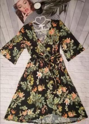 Вискозное платье миди чёрное в цветочек вискоза в цветочный принт
