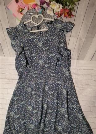 Вискозное платье в цветочек с рюшами открытая спина цветочный принт
