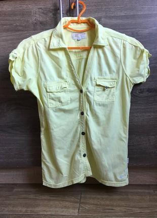 Рубашка поло хлопок жёлтая