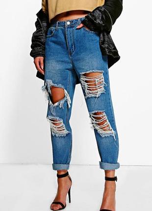 Оригинальные рваные джинсы, бойфренды, мом forever размер 27