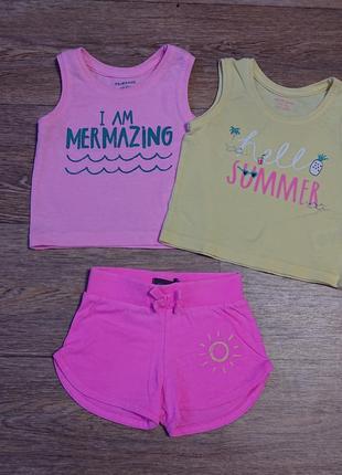 Летний комплект набор шорты майка футболка для малышки