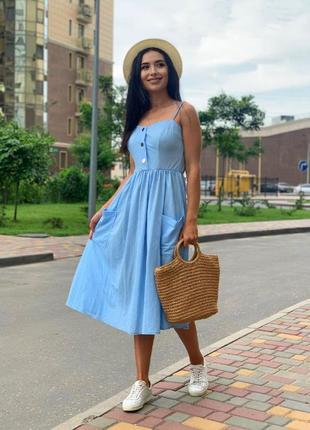 Сарафан🤩льняной лёгкий стильный свободный красивый модный платье летнее