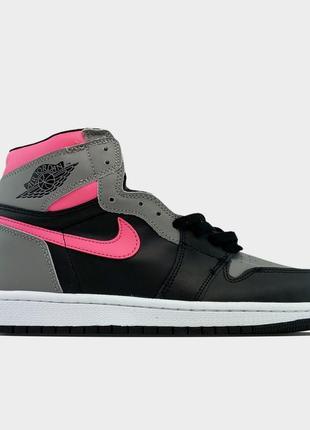 Кроссовки nike air jordan 1 black grey pink