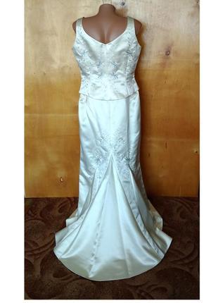 Р. 14-16 / 46-48-50-52 платье нарядное свадебное выпускное костюм топ юбка со шлейфом с вышивкой