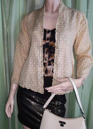 Кардиган в мелкий горох , отделка вышивка ришелье , индивидуальный пошив
