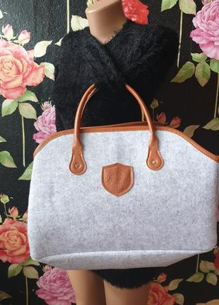 Большая брендовая сумка шоппер войлок