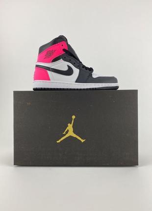 Кроссовки nike air jordan 1 retro black pink9 фото