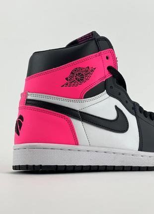 Кроссовки nike air jordan 1 retro black pink4 фото