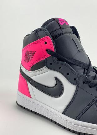 Кроссовки nike air jordan 1 retro black pink6 фото